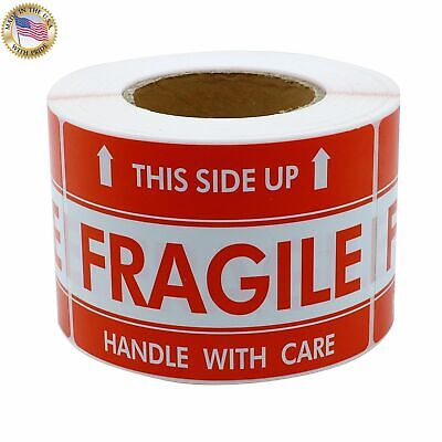 2x3 Fragile This Side Up Shipping Mailing Handle With Care Stickers