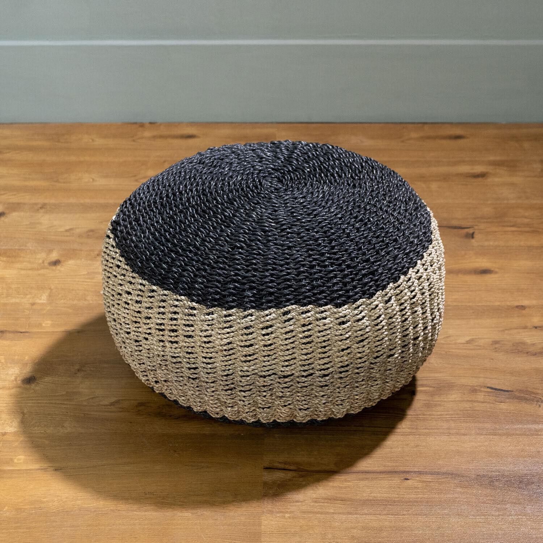 WOHNFREUDEN Sitz-Pouf Bruno 60 x 60 x 35 cm aus Seegras schwarz natur Sitzhocker