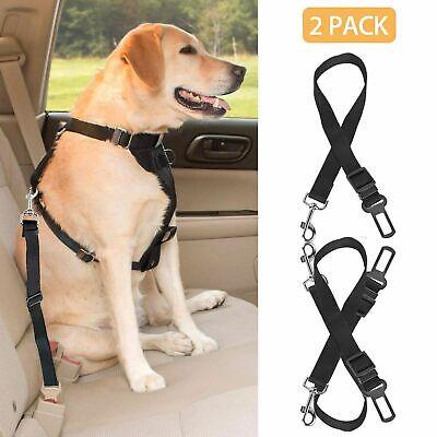 2 PACK Cat Dog Pet Safety Seat Belt For Car Harness Tether Lead Adjustable Black