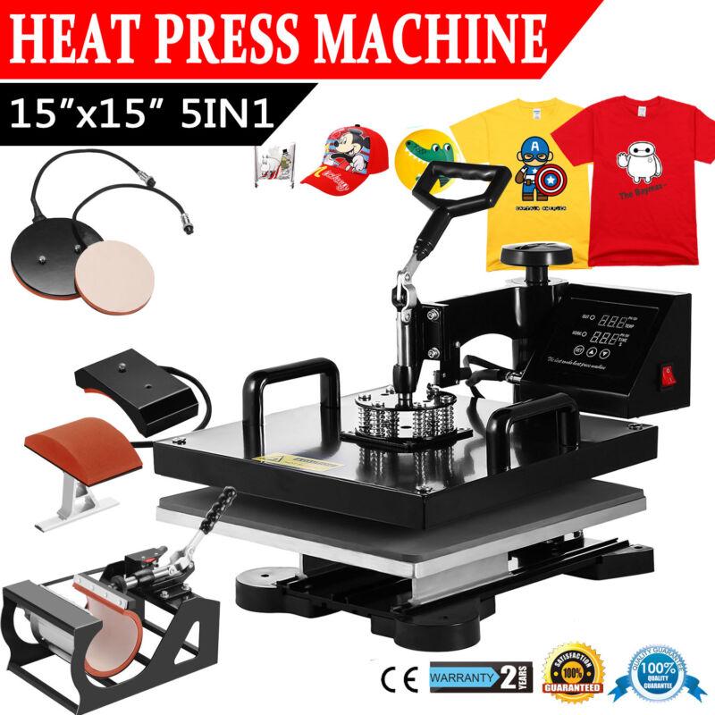 "5IN1 Heat Press Transfer Machine 15""x15"" Combo Printing Swing Away Mug T-Shirt"