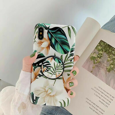 Floral Phone Soft Case+Pop Up Holder For iPhone11 Pro Max X XR XS 8 7 6Plus 6s