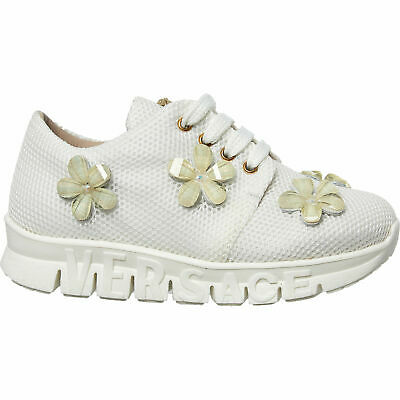 YOUNG VERSACE Baby Girls' Jewelled Floral Trainers, White, UK infant 5.5 / 6.6
