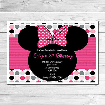 Personalised Minnie Mouse Child's Kids Birthday Party Invites Includes Envelopes