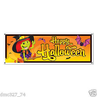 HAPPY HALLOWEEN Party Decoration Not So Spooky WITCH Plastic SIGN BANNER 60