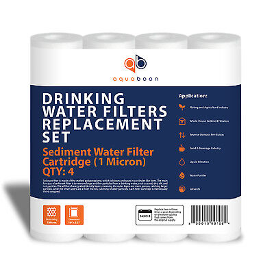 "Remains Water Filter 1 Micron 10"" x 2.5"" size 4 PACK+FREE SHIPPING by Aquaboon"