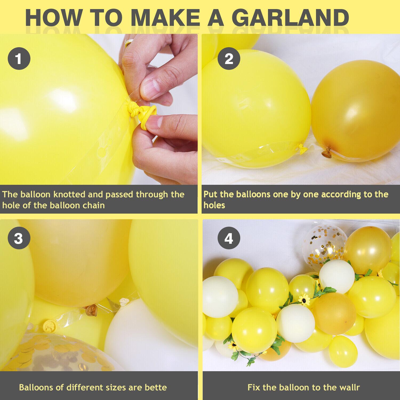 Yellow Balloon Garland Arch Sunflower Ivy Vine Baby Shower Birthday Party Decor Ebay