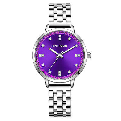 Womens Quartz Watch Purple Dial Aolly Case Simple Style Hour Ladies Gift Casual
