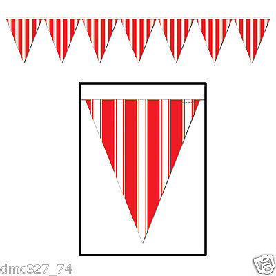 CIRCUS CARNIVAL Big Top Party Decoration RED & WHITE STRIPED Pennant FLAG BANNER