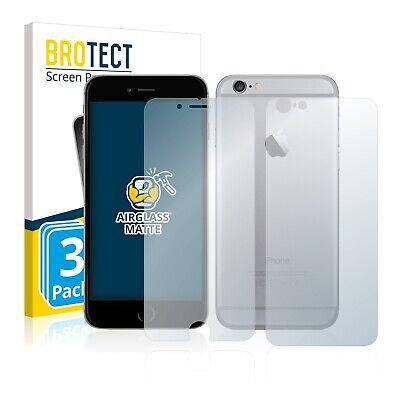 3x Protector Pantalla para Apple iPhone 6S (Frontal + Trasera) Cristal Mate