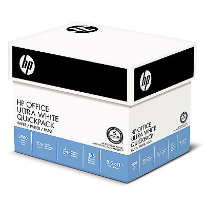 HP Office Ultra-White Paper, 92 Bright, 20lb, 8-1/2 x 11, 500/Ream, 5/Carton