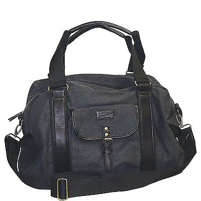 Field & Stream Vintage Gear Mens Blk Front Pocket w/ Fold-Over Flap Small Duffel - Flap Over Front Pocket