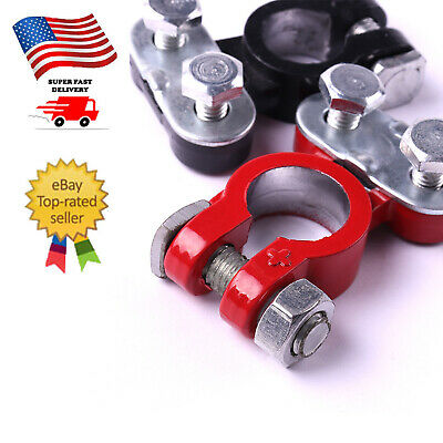 2Pc Positive & Negative Pole Car Terminal End Battery Clamp Clip Connector in US ()