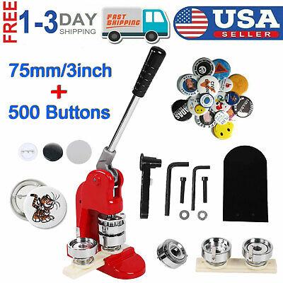 """3""""/75mm Tinplate Button Maker Punch Pin Machine + 500 Buttons + Circular Cutter"""