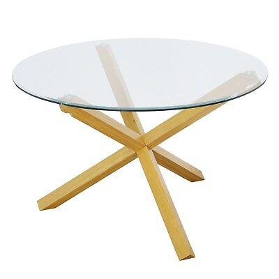 LPD Oporto Soild Oak And Glass Large Round Table - 120cm Diameter OPORTOPLUS