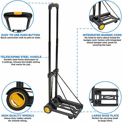 Mount-it Folding Luggage Cart And Dolly 77 Lb Capacity