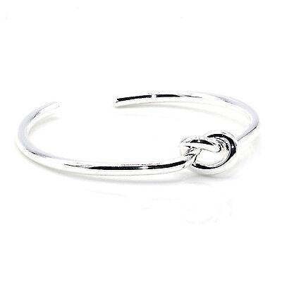 Silver Circular Bracelets - Circular Knot Cuff Bangle Bracelet (Silver)