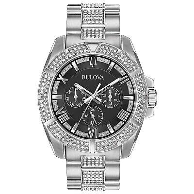 Bulova Men's Quartz Crystal Accents Black Dial Silver Tone 40mm Watch 96C126