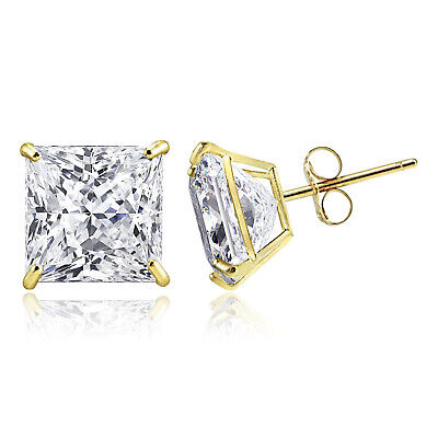 14K Solid Gold Square Princess Cut Cubic Zirconia Basket Push Back Stud Earrings 14k Cubic Zirconia Earring Princess Stud