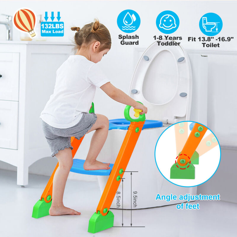 Potty Training Toilet Seat with Step Stool Ladder for Baby Toddler Kid +Handles