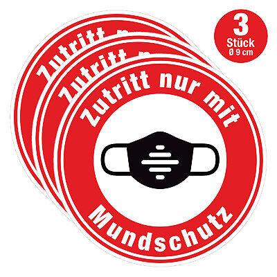 3x Zutritt nur mit Mundschutz Aufkleber 9 cm - Bitte Mundschutz Maske tragen