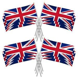 10 Union Jack Hand Waving Flag GB Flags Royal British Street Party Celebration