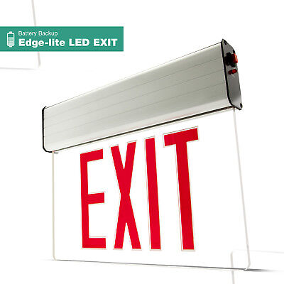 Led Exit Sign Emergency Light Red Compact Combo Hi Output Ul Fd10aecr