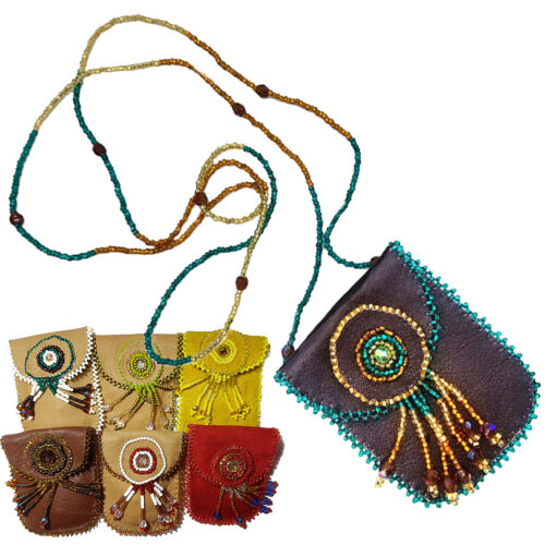 6 Necklace Suede Leather Medicine Pouch Native Indigenous Mezo American
