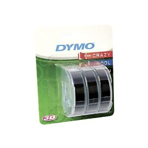 Dymo Embosser Tape 9mm x 3m White/Black 3 Pack S0847730
