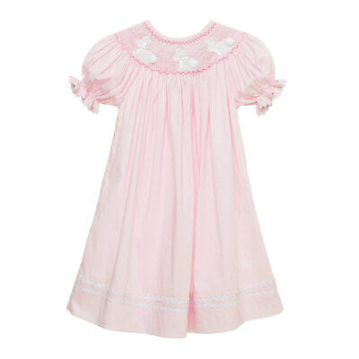 Children's Boutique Dresses (Pink Easter Bunny Smocked Bishop Dress NEW * boutique)