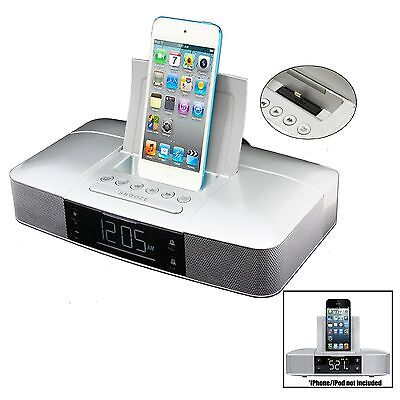 New Capello Dual Alarm Clock FM Radio Dock Speaker for iPhone 5/5s/6 & AUX Input