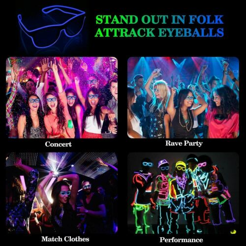 LED Light up Glasses USB Rechargeable Wireless Cool Look for Concert Club party