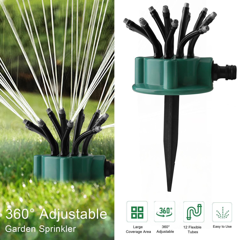 360° Flexible 12 Tubes Garden Yard Lawn Water Sprinkler Watering Sprayer System Home & Garden