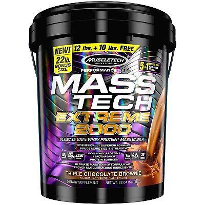 Muscletech MASS TECH Protein Lean Muscle Weight Gain 22 lb Bonus Size CHOCOLATE