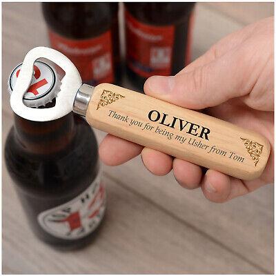 PERSONALISED Wedding Wooden Bottle Opener Gifts for Best Man Groomsman