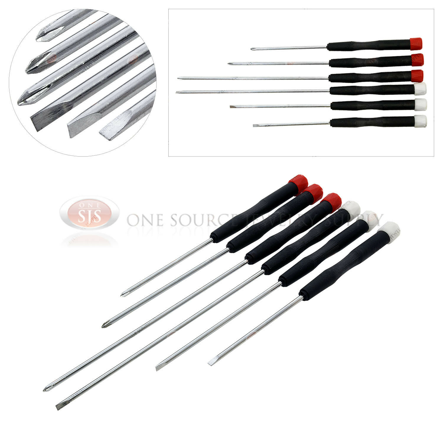 electronic screwdriver 6 piece set phillips slotted computer repair hobby work ebay. Black Bedroom Furniture Sets. Home Design Ideas