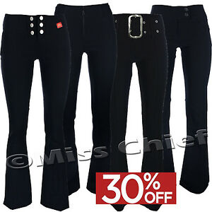 New Girls School Ladies Trousers Womens Stretch Trousers Hipster Black Grey Navy