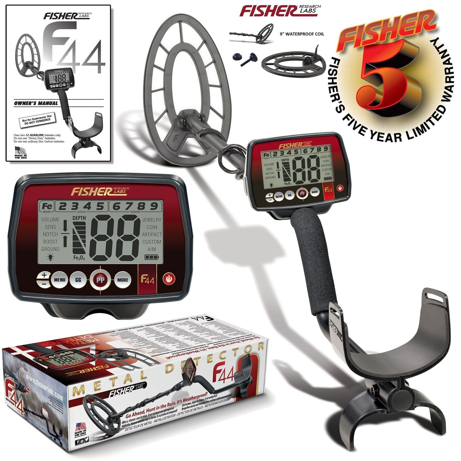 "FISHER F44 Metal Detector Waterproof 11"" + 9"" Coil + Manual Ground Balance Beach"