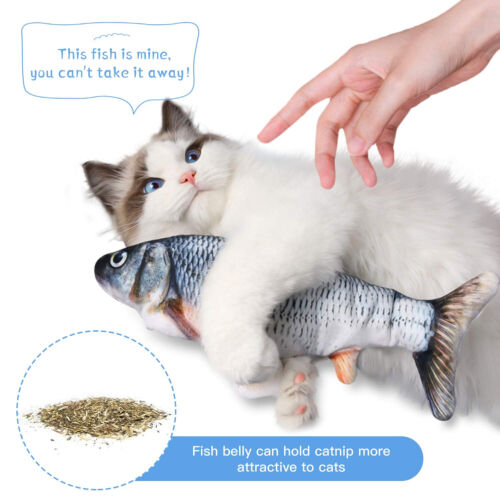 Cat Interactive Toys Flippity Fish Toy Electric Realistic Flopping Fish & Catnip