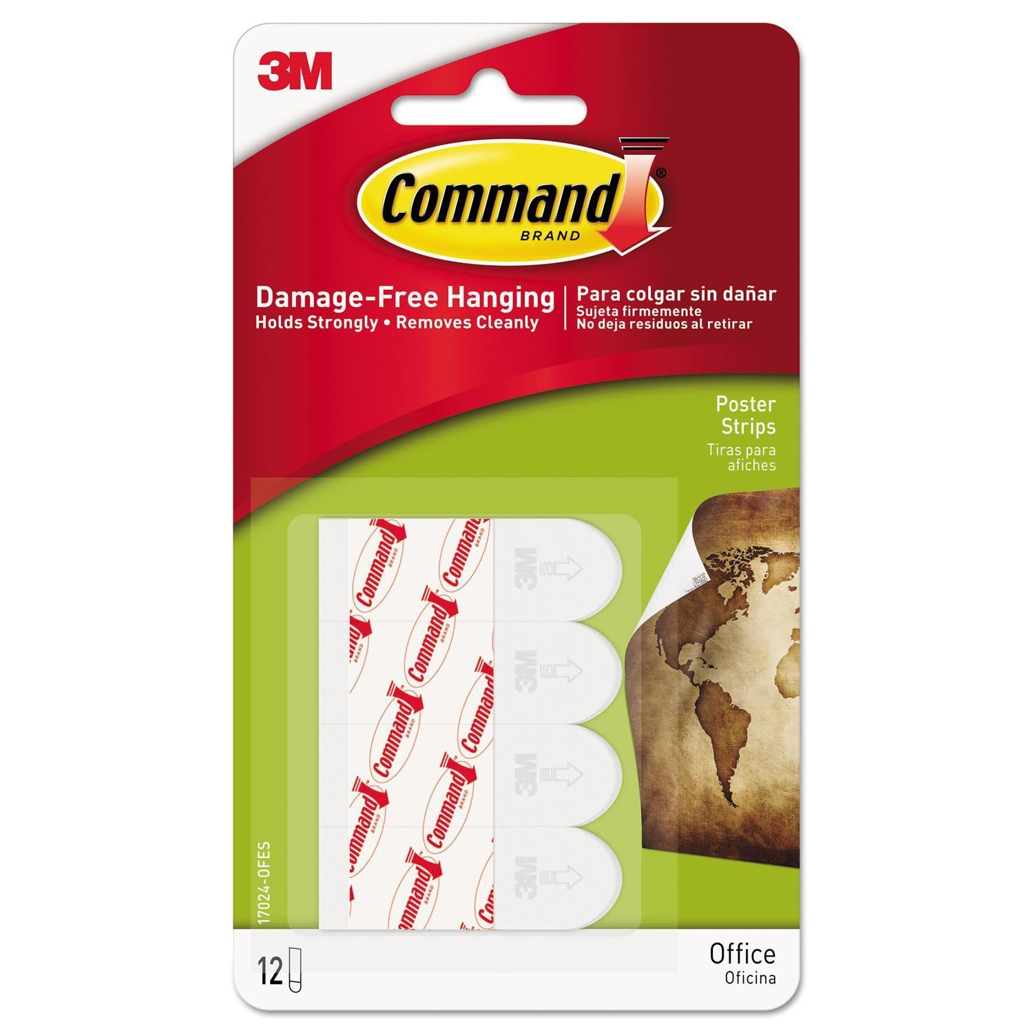 3M Scotch Command Poster Adhesive Strip Value Pack White 48