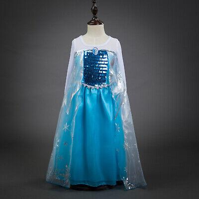 Kids Girls Frozen Queen Elsa Princess blue Party Dress Gown Costume ZG9](Kids Queen Costume)