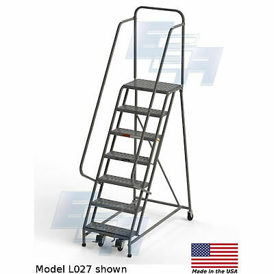 Ega L027 Steel Industrial Rolling Ladder 7-step 24 Wide Perforated Gray 450