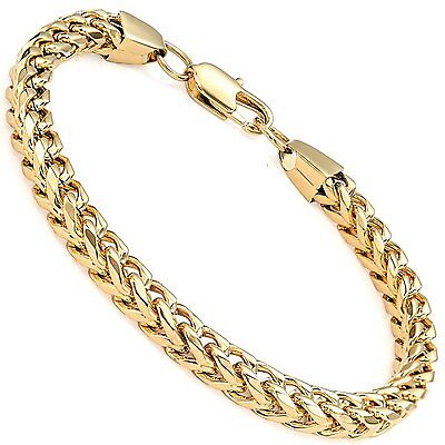 """MENDINO Men's Stainless Steel Bracelet Curb Chain Polished Gold 8.5"""" 6mm Wide"""
