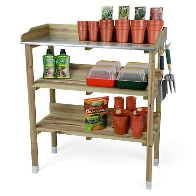 3 Tier Rack Stand Flower Plant Pot Work Station Accessories Wood Potting Table