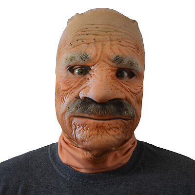 Scary Halloween Face Mask Grumpy Old Man Design Fancy Dress Horror Lycra - Scary Halloween Mask Designs