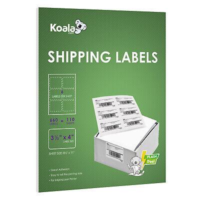 660 Koala 3-13 X 4 Address Shipping Adhesive Labels 6 Per Sheet Fba 4 X 3.33