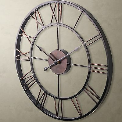 Large metal wrought iron wall clock french provincial roman numerals bronze cc