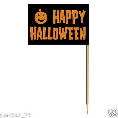 HALLOWEEN Party HAPPY HALLOWEEN Flag PICKS Food Cupcakes Hors D'oeuvres - Halloween Parties Food