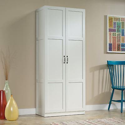 Utility Pantry (White Finish Storage Cabinet Pantry Laundry Closet Organizer Utility Shelves )