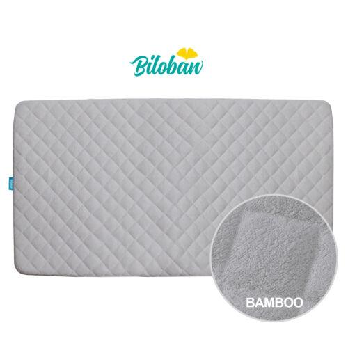 "Crib Mattress Pad Soft Bamboo Fleece Surface Cover Baby Waterproof 52""x 28"" Gray"