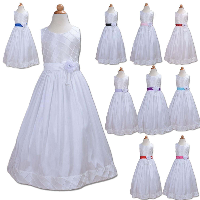 Weiß Blumenmädchen Brautjungfer Kleid 2 to 12 Jahre Sash